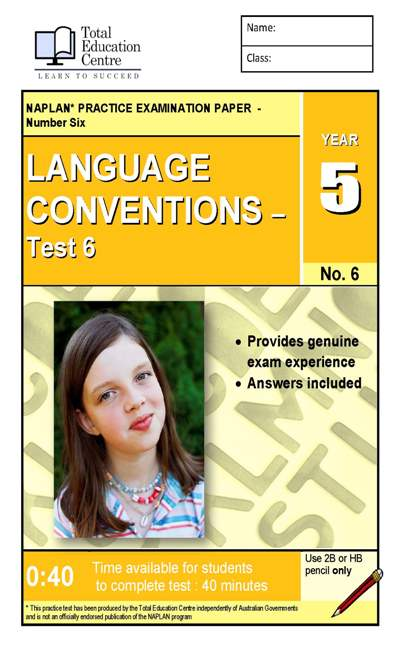 Yr 5 Language Conventions Test 6