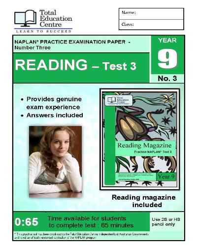 Year 9 NAPLAN Reading Test 3