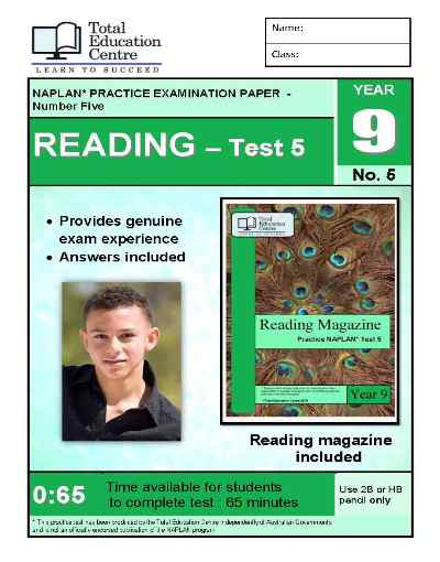 Year 9 NAPLAN Reading Test 5