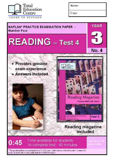 Year 3 NAPLAN Reading Test 4