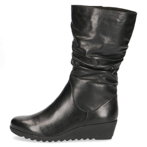 Caprice 9-9-25407-25 Black Leather Wedge Boot