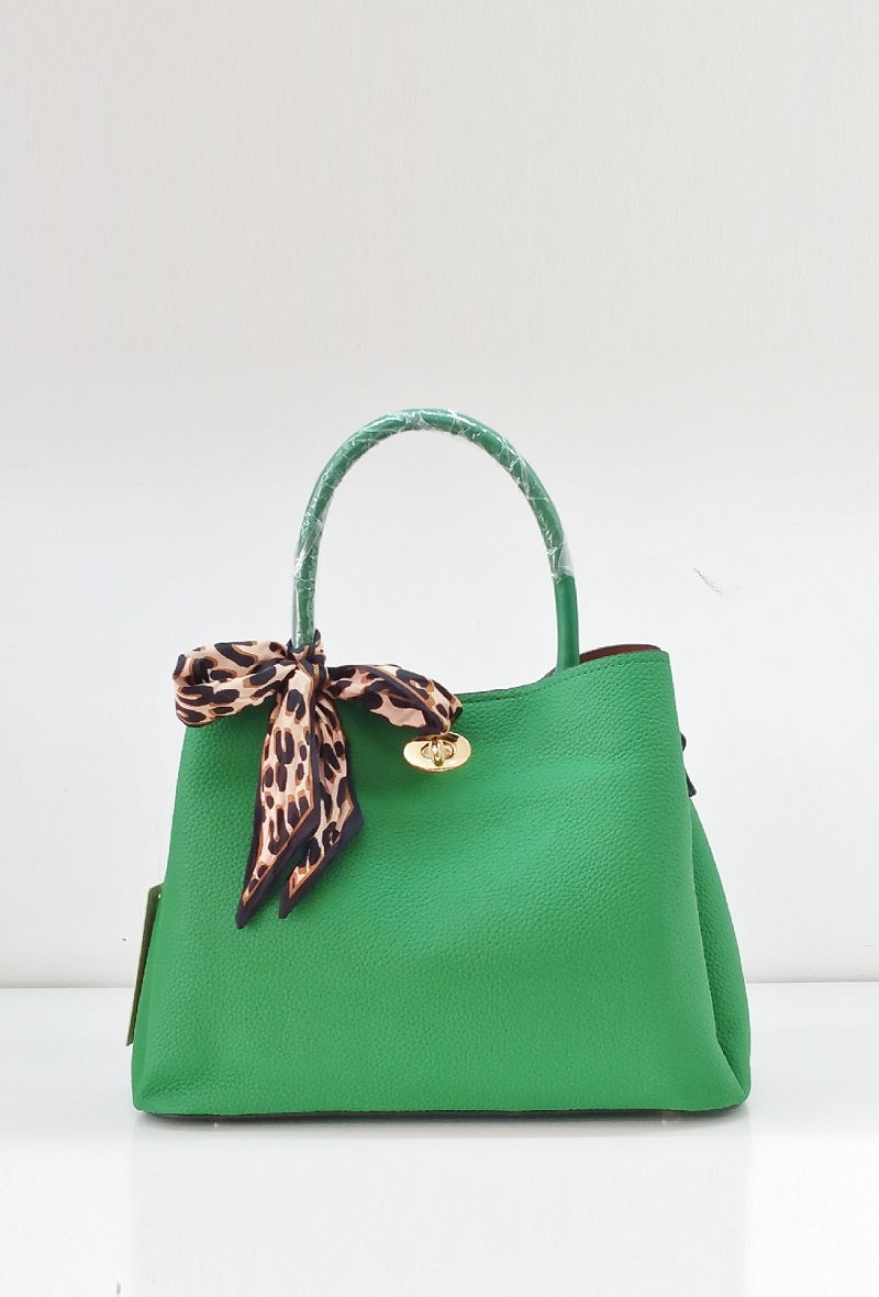 fashion bag with leopard scarf