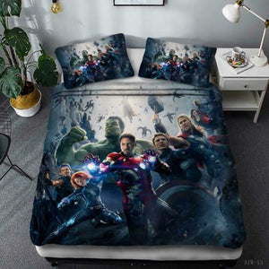 AVENGERS SPIDERMAN IRONMAN STARWARS CAPTAIN AMERICA DUVET COVER & 2-PILLOW CASES -17 STYLES