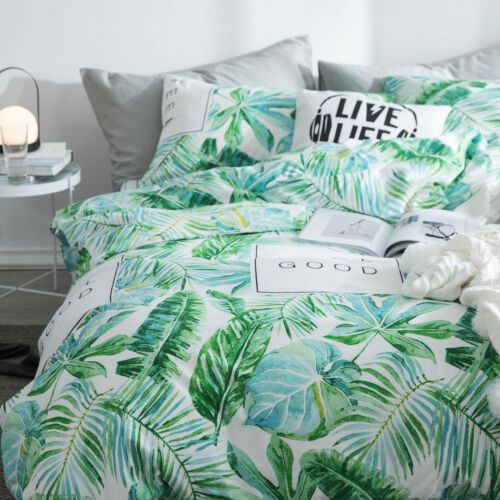 100% Cotton Tropical Palm Leaves Queen Duvet Cover Set Reversible New