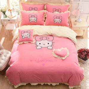 Kids Hello Kitty Bedding Duvet Cover Bedding Set 100% COTTON Twin Full/Queen, King