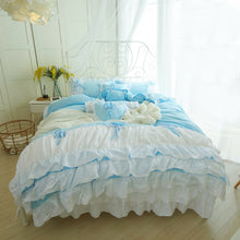 Load image into Gallery viewer, 100% COTTON 4-Piece Fairy Ruffle Lace Duvet Cover Bedding Set - Twin, Queen, King
