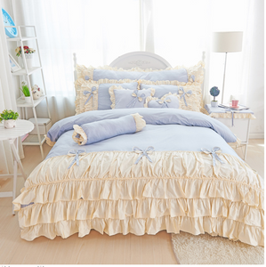 100% COTTON 4-Piece Fairy Ruffle Lace Duvet Cover Bedding Set - Twin, Queen, King