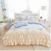 Load image into Gallery viewer, 100% PURE COTTON GIRL'S PRINCESS WIND SKIRT RUFFLE DUVET BEDDING SET (3 or 4 pc)