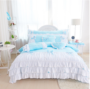 100% PURE COTTON GIRL'S PRINCESS WIND SKIRT RUFFLE DUVET BEDDING SET (3 or 4 pc)