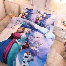 Load image into Gallery viewer, Disney Frozen 4-Piece Crystal Velvet Duvet Cover Set Anna Elsa Purple