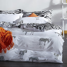 Load image into Gallery viewer, Black White Duvet Cover Set Twin Queen King Bedding Set 100% Cotton and Linens