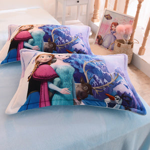 Disney Frozen 4-Piece Crystal Velvet Duvet Cover Set Anna Elsa Purple