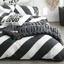 Load image into Gallery viewer, 100% Cotton Black White Diagonal Stripe Duvet Cover Set Queen Bedding Set