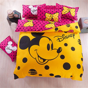 100% Cotton Micky Minnie Mouse Duvet Cover Kids Bedding Set Twin Full/Queen
