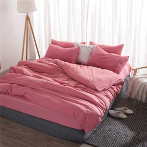 Soft Washed Cotton Bedding Set Solid Colors - Twin, Full, Queen, King