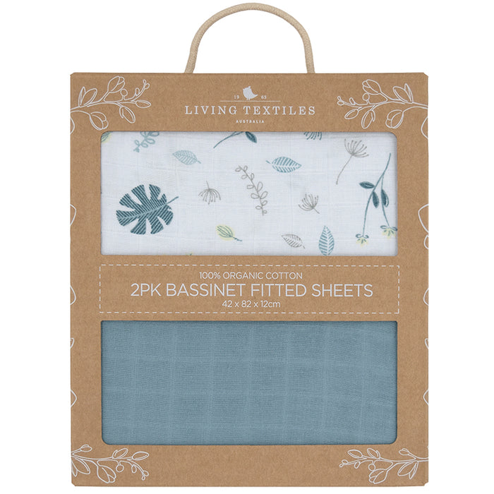 Living Textiles 2-pack Muslin Bassinet Fitted Sheet Banana Leaf/Teal