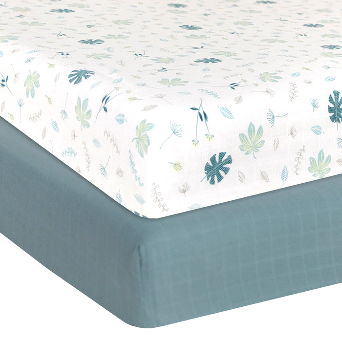Living Textiles 2-pack Muslin Cot Fitted Sheet Banana Leaf/Teal