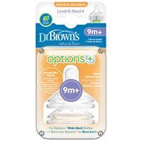 Dr Browns Options+ Wide Neck 9 Months+ Teat 2 Pack