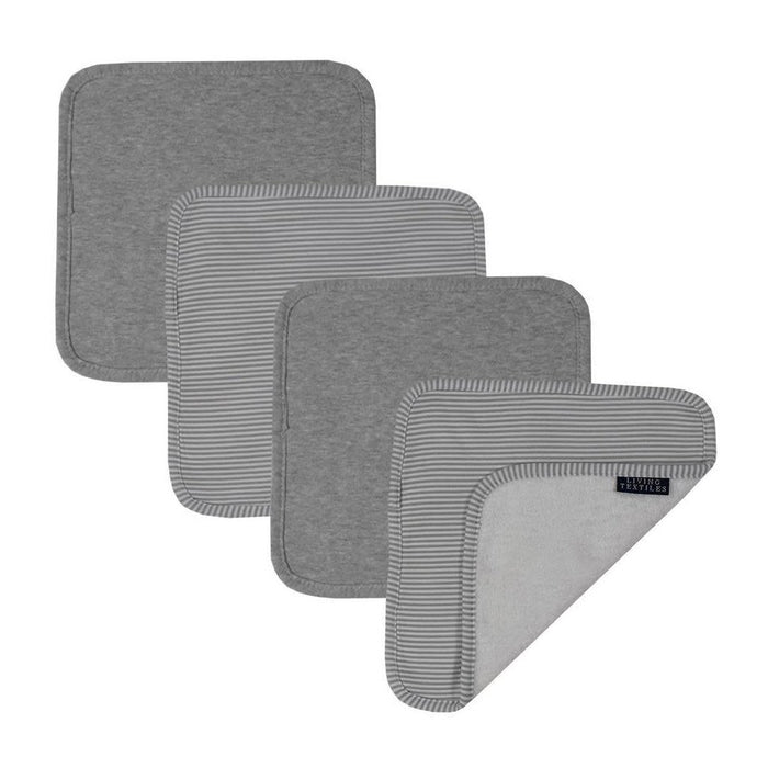 Living Textiles Face Washers 4pk Grey/Grey Stripe