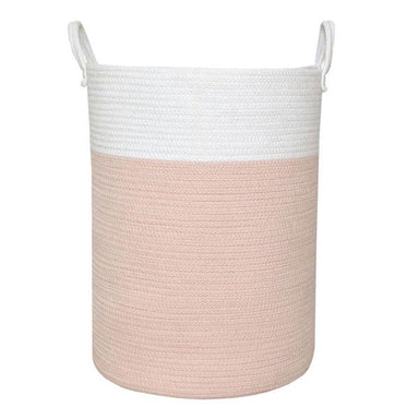 Living Textiles Cotton Rope Hamper White/Pink
