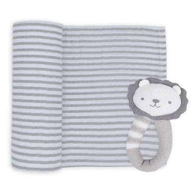 Living Textiles Muslin Swaddle & Rattle Austin the Lion
