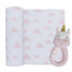 Living Textiles Muslin Swaddle & Rattle Kenzie the Unicorn