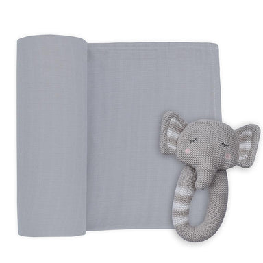 Living Textiles Muslin Swaddle & Rattle Eli the Elephant