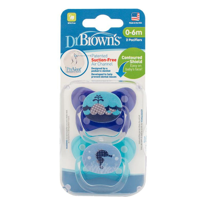 Dr Browns Prevent Contoured Pacifier 0-6 Months Blue 2 Pack