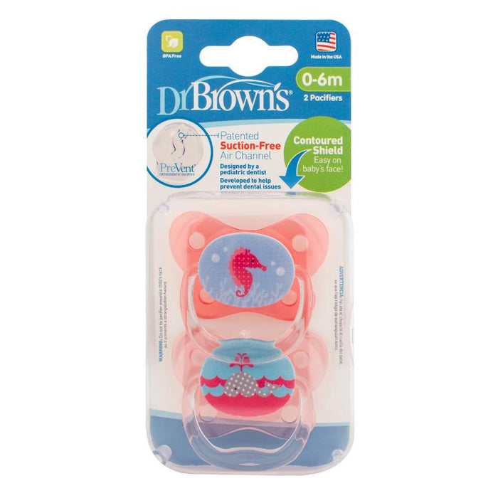 Dr Browns Prevent Contoured Pacifier 0-6 Months Pink 2 Pack