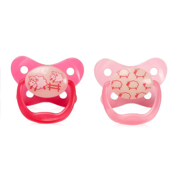 Dr Browns Prevent Glow In The Dark Pacifier 0-6 Months Pink 2 Pack