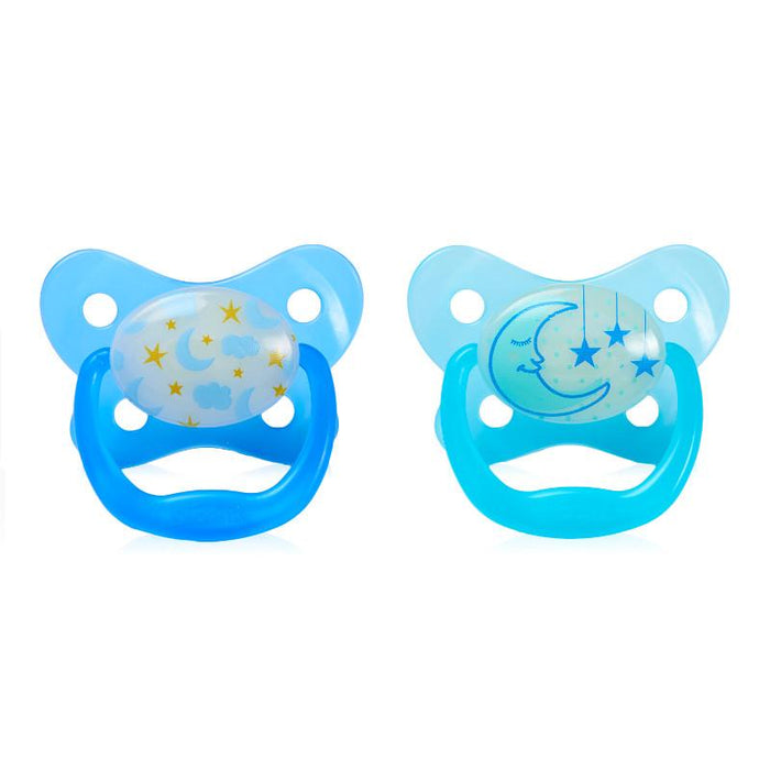 Dr Browns Prevent Glow In The Dark Pacifier 6 Months+ Blue2 Pack