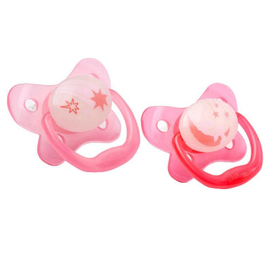 Dr Browns Glow in the Dark Pacifier 12 Months+ Pink 2 Pack