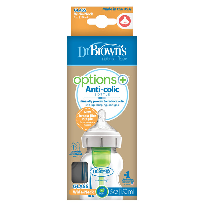 Dr Browns Options+ Wide Neck 150ml Glass Feeding Bottle