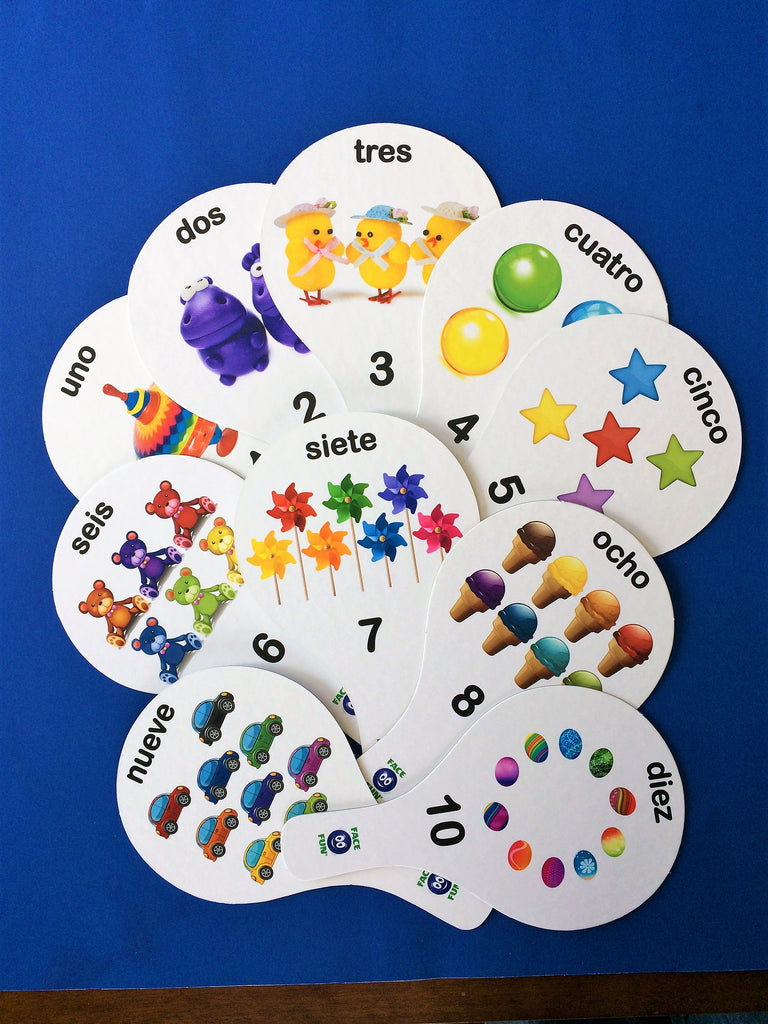 NUMBERS FLASHCARD TEACHING PADDLES - SPANISH