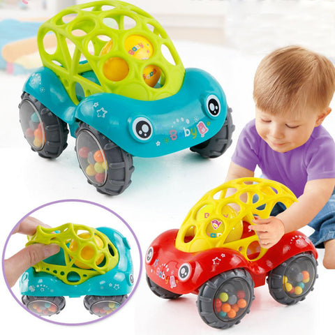 Kuulee Baby Soft Hand Grasping Hole Bell Ring Car Cute Teether Rattle Toys for Kids igrushki baby toys 13 24 months fisher price