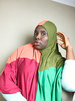 Load image into Gallery viewer, Color block hijab (scarf)