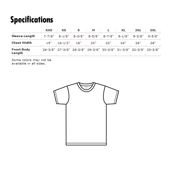 American Apparel T-Shirt Specifications