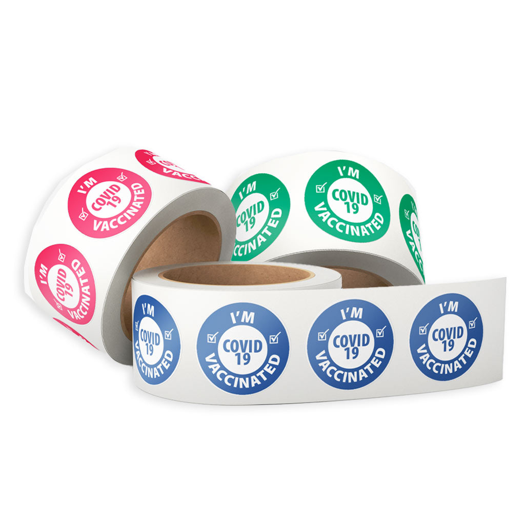 USA-Made I'm Vaccinated Sticker Rolls