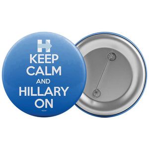 Union Printed Keep Calm and Hilary On Blue Button