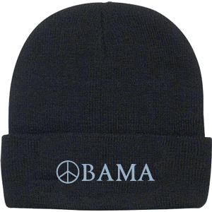 Obama Navy Blue Peace Sign Beanie