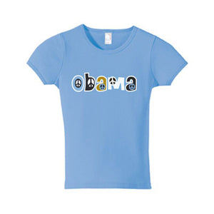 Ladies Light Blue Obama Peace Sign T-Shirt