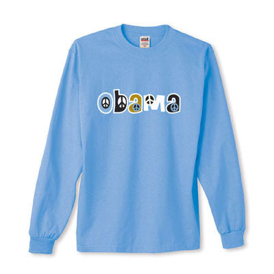 Light Blue Obama Peace Sign Long Sleeve T-Shirt