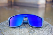 Black Polarized Retros Blue Lens