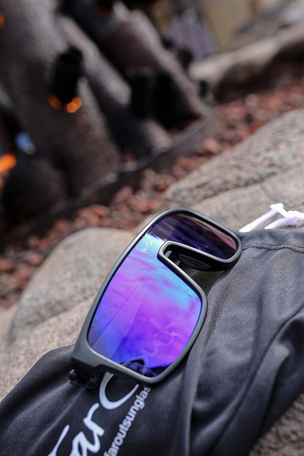 Black Polarized Retros Purple Lens