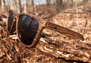 Wood Grain Brown Polarized Premiums Black Lens