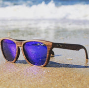 Wood Grain Brown Polarized Premiums Blue Lens