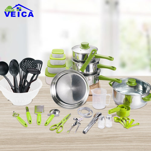 45 Pcs Stainless Steel Kitchen Tools Cookware Set