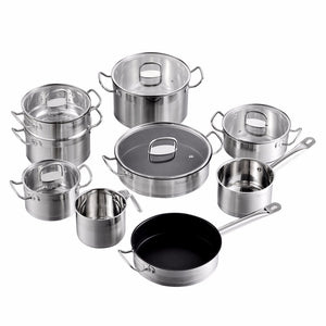 Velaze Cookware Set 14 Piece Stainless Steel Kitchen Cooking Pot & Pan Sets,Induction Safe,Saucepan,Casserole, with Glass lid