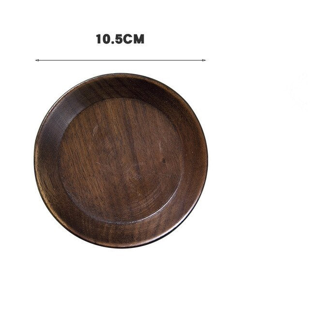 Black Walnut Wooden Dishes Tea Tray Pan Plate Dessert Dinner Wood Plates