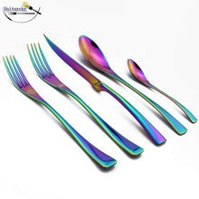Load image into Gallery viewer, Iridescence Rainbow Cutlery Silverware Set Shiny Stainless Steel Dinner Steak Knife Set Dinner Fork Teaspoon Dinnerware For Home